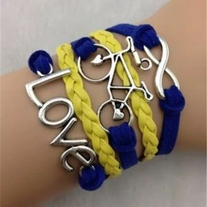Jewelry - Love Bicycle Infinity Charm Faux Leather Bracelet